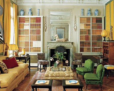 Rose Anne de Pampelonne library with yellow curtains and blue and white porcelain via belle vivir blog