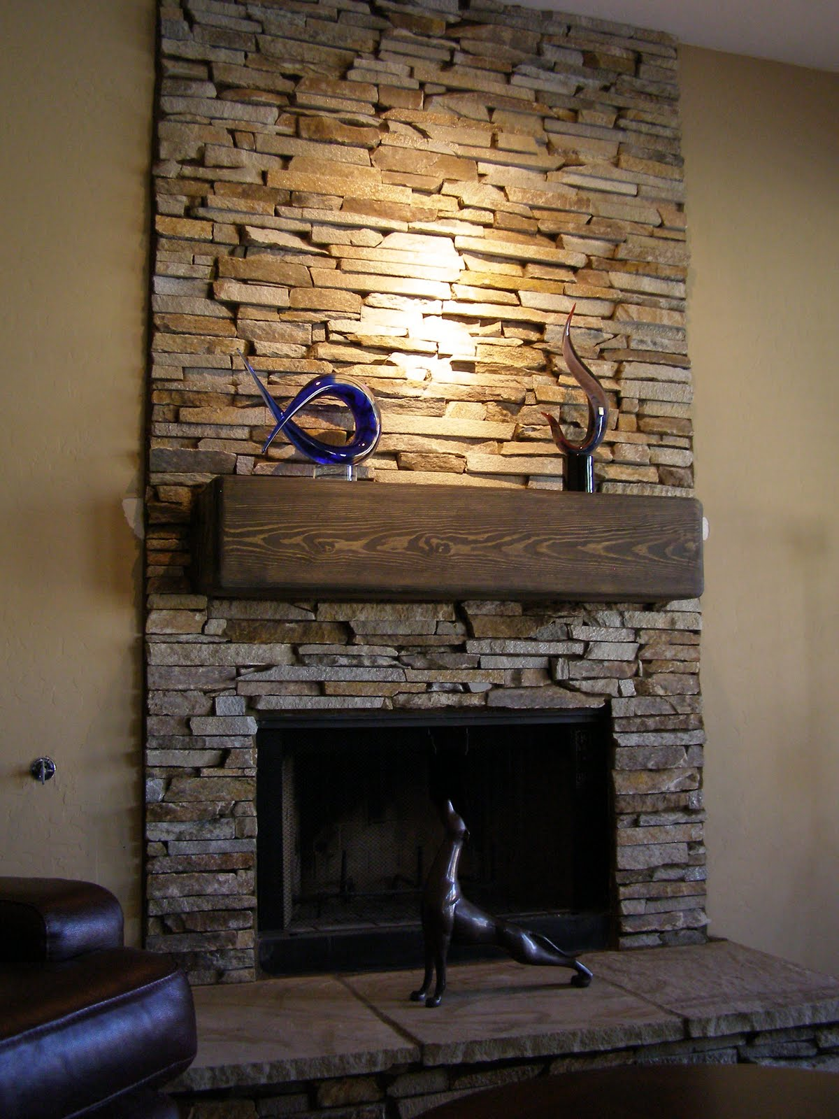 Fireplace Natural Stone Hearth Wood Facing