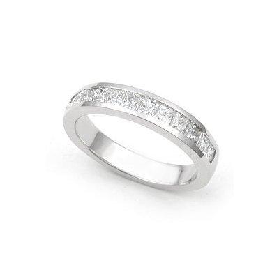 8mm Tungsten Carbide 14k White Gold Inlay Wedding Band Ring