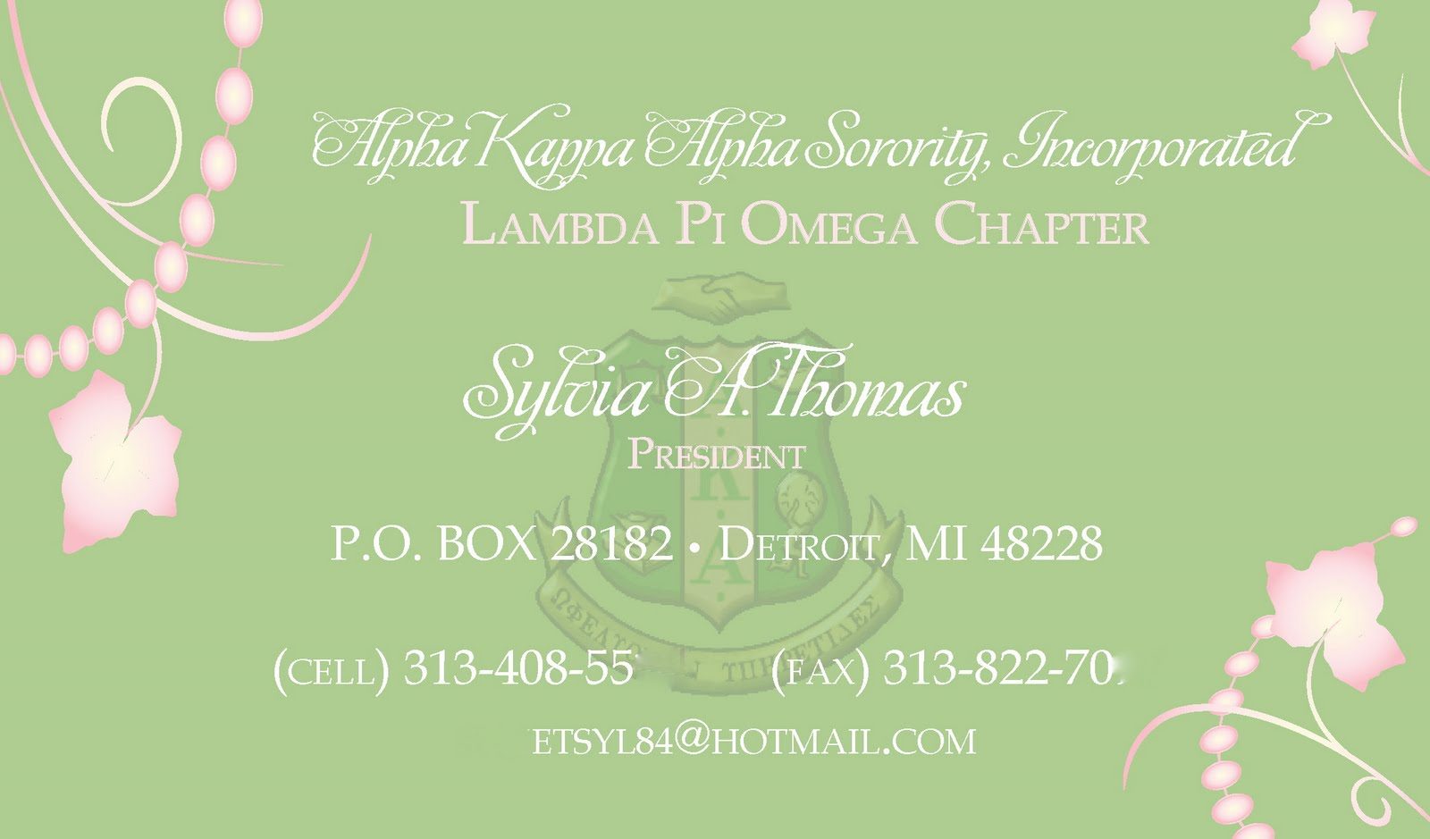These Business Card Style Calling Cards Were Designed For A Member Of Alpha Ka Sorority Inc They Are Very Useful Networking And Much