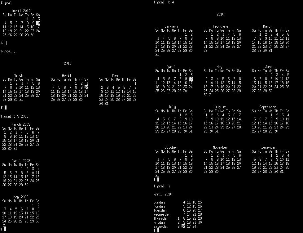 Terminal 5 Calendar.Gcal The Ultra Powerful Command Line Gnu Calendar