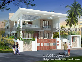 """3d rendering services India"" ""night view of contemporary bungalow"""