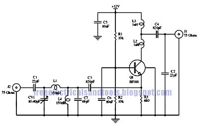 electro diagram: 15dB UHF Antenna Preamp Circuit