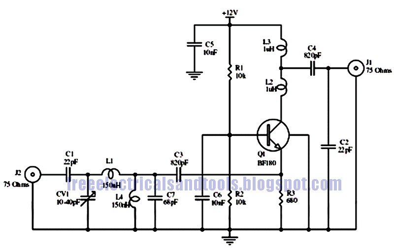Free Schematic Diagram: 15dB UHF Antenna Preamp Circuit