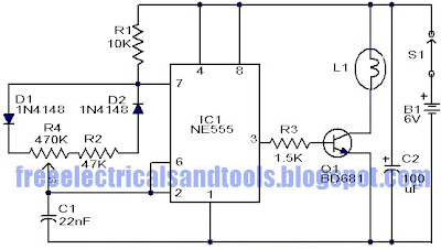 the circuit can be used to control the brightness of low power incandescent  lamps  the circuit is based on ic ne555  this is the figure of the circuit