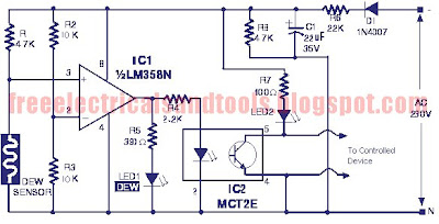 in operation of the circuit, at normal condition the resistance of dew  sensor element will be low and so the voltage drop across it