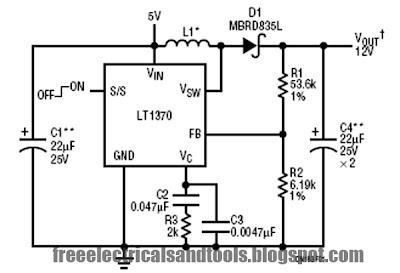 5V to 12V Boost Converter Using LT1370 | circuit harness ...