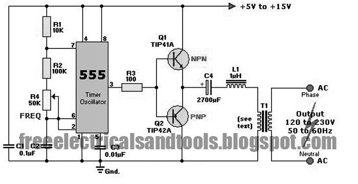 Free Schematic Diagram: DC to AC Inverter Using 555 IC
