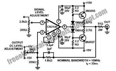 Diagram circuit Source: Wideband Output Amplifier Circuit