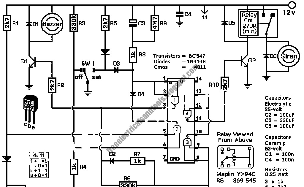 Free Schematic Diagram: Automatic Intruder Alarm Using 4011 IC