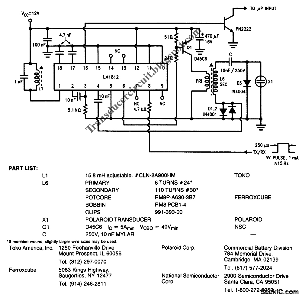 January 2011 Transducer Circuit Diagram Ultrasonic Receiver Electrostatic For Measurement