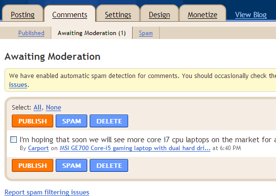 Blogger adds Comment Inbox, now filters comments that are likely