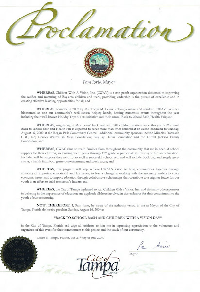 Proclamation from Mayor Pam Iorio for Children With a Vision, Inc.