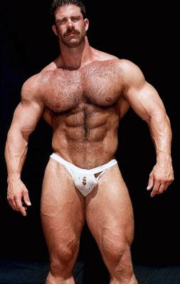 Hairy men bodybuilders