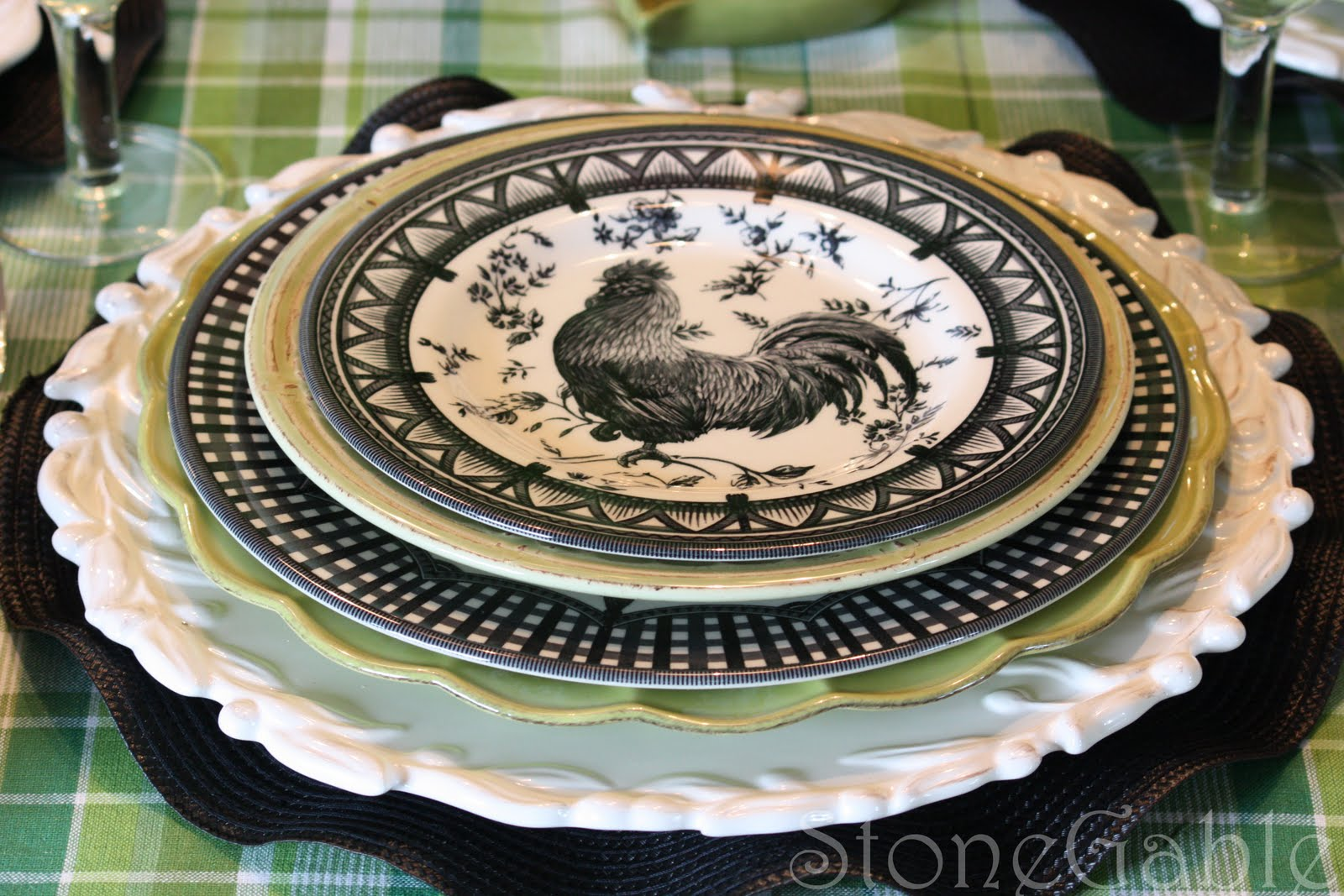 A Little French Rooster Tablescape Stonegable
