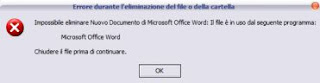 impossibile eliminar il file in uso