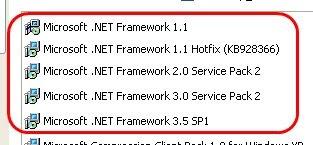 Rimuovere .Net Framework