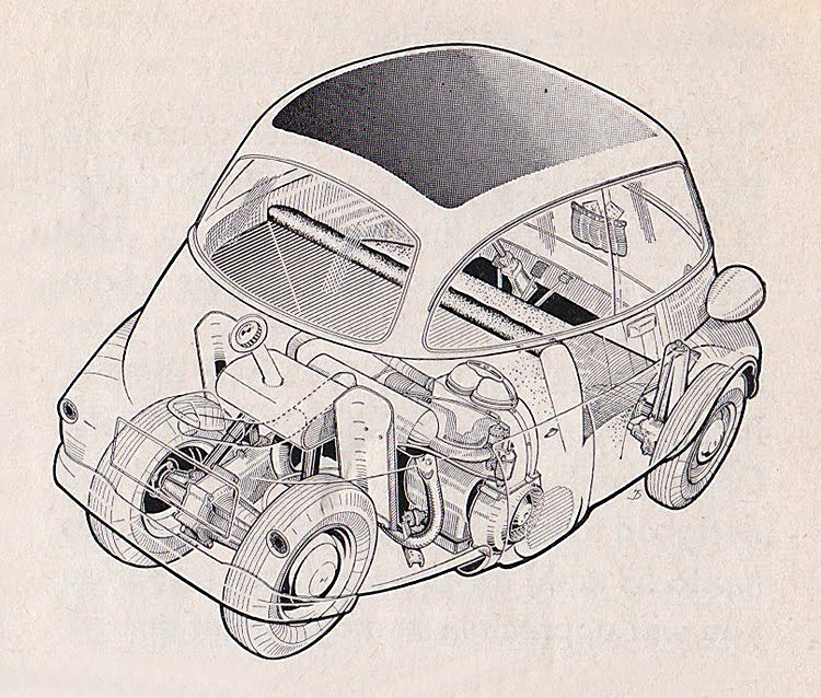 bzs bmw isetta  isetta cutaway illustrations