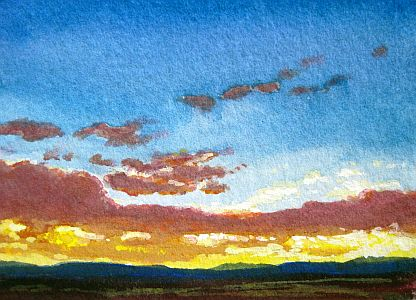 Deborah Secor Gouache Simple Sunset