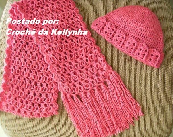Crochê da Kellynha  Conjunto Touca e Cachecol de Crochê af9efa4446a