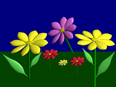 Bright flowers in different colors - Nature. 3D.