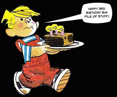 Dennis the Menace with birthday cake
