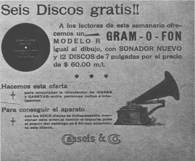 Otra  publicidad  de Cassels en  1901,  con  ilustración  del  Gram-0-Fon  y  un  disco de  laBanda De Sousa, excelente agrupación de modelo francés, que grabó numerosos tangos