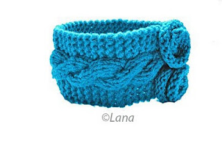 Pattern instruction knitted head band with flowers PDF.
