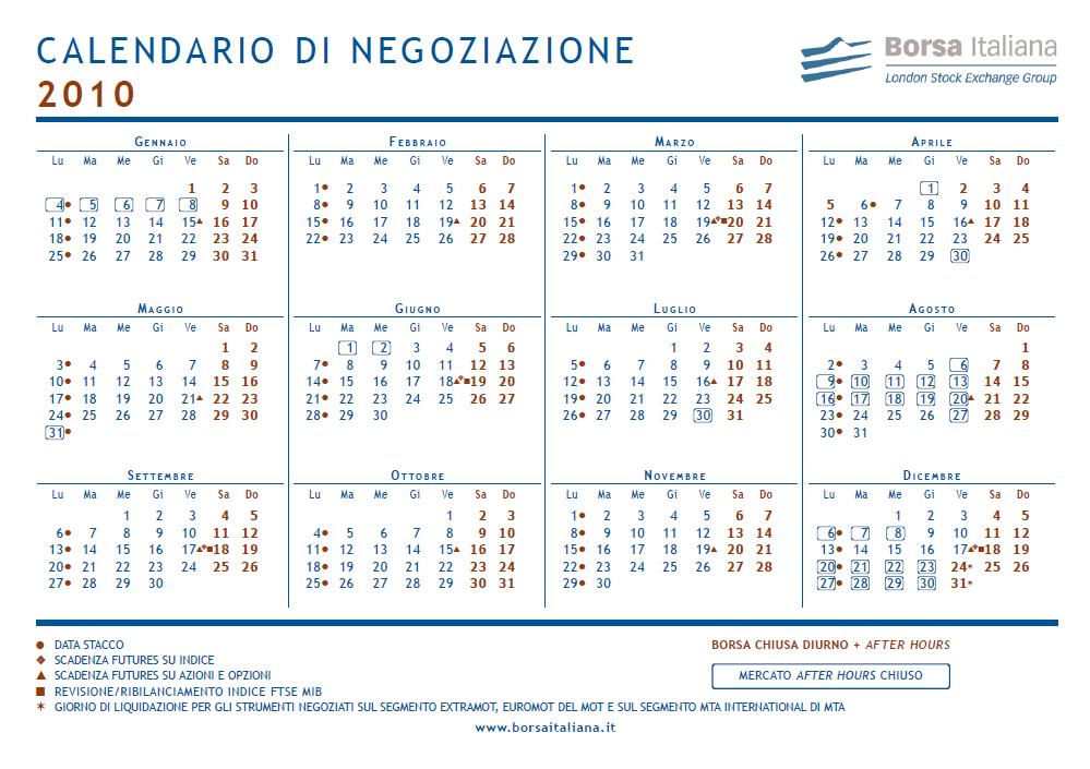 Calendario Borsa Italiana.The Best Trader Trading Calendar 2010 Borsa Italia