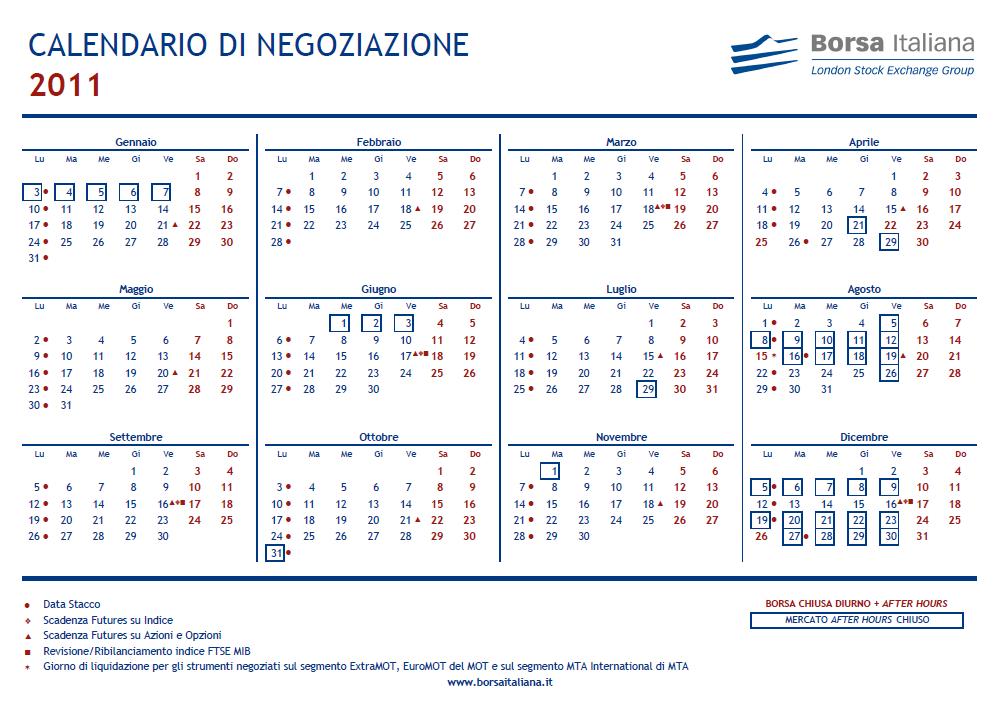 Calendario Borsa Italiana.The Best Trader Trading Calendar 2011 Borsa Italia