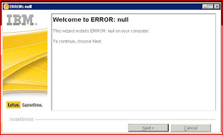 sametime is null error