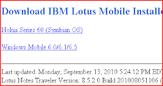 LOOK, version number for lotus notes traveler