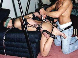 Hog tied spank suck and masturbate 1