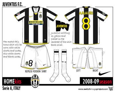 1c9a63b0f Juventus home kits by Nike with their traditional black and white stripes.  The shirt has a v-neck yellow collar as well as yellow piping designs  around the ...