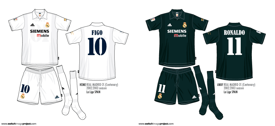 ae2ab4d95c7 Illustrated Real Madrid black kit were worn during the Champions League 2002  03 match played between manchester United and Real Madrid at the  Manchester