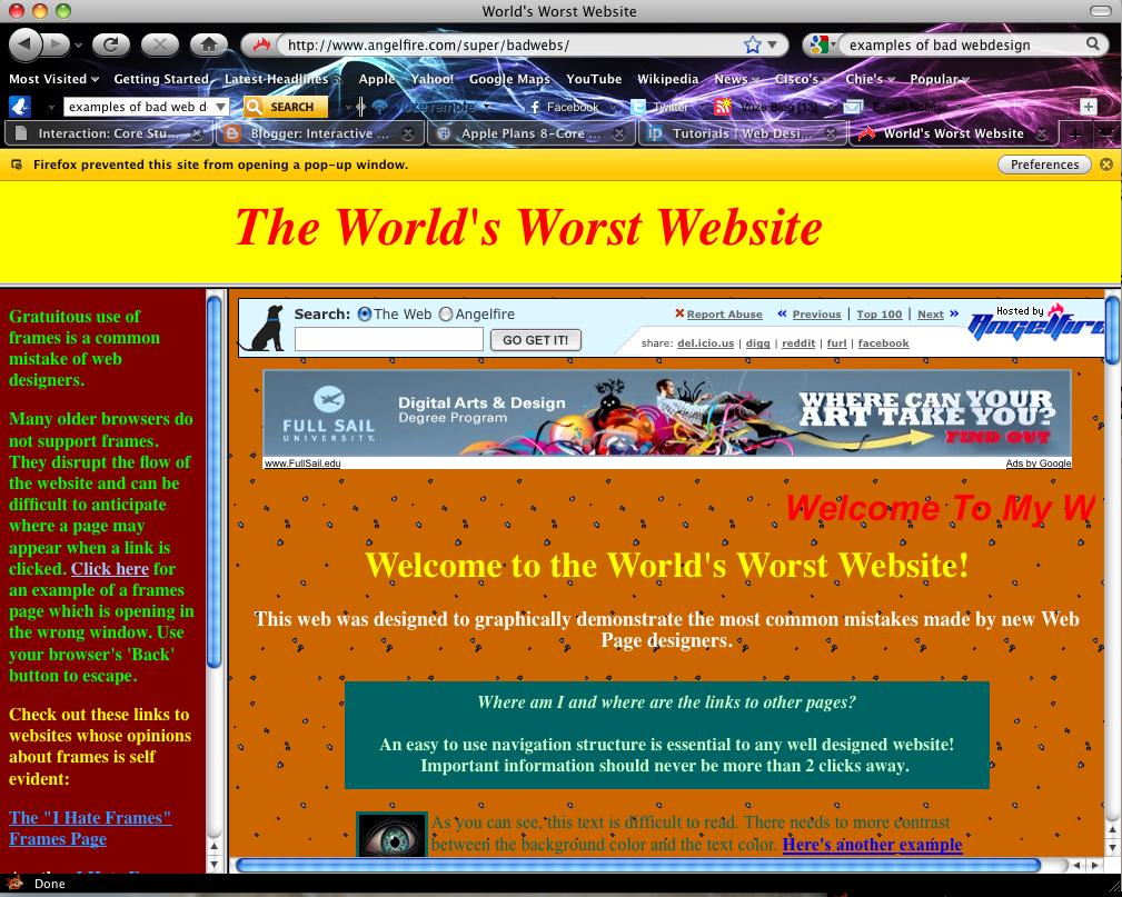 Interactive Lab Fall 2010 Good Bad Web Design