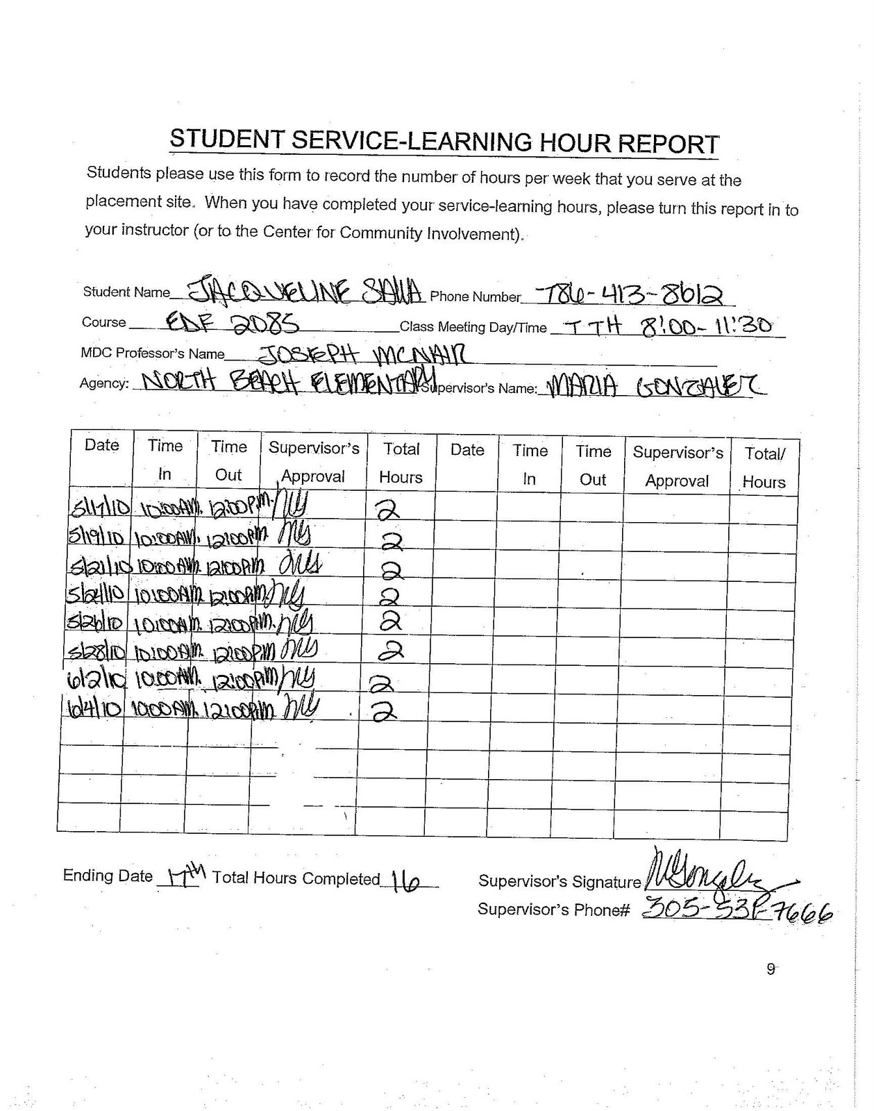 High School Community Hours Form