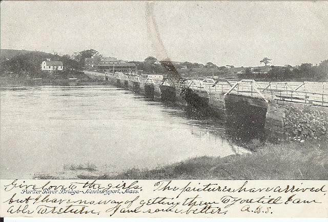Parker River, Bridge, Newbury, Massachusetts, postcard