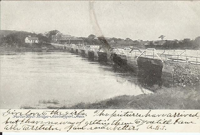 Parker River, Bridge, Newbury, Massachusetts, postcard