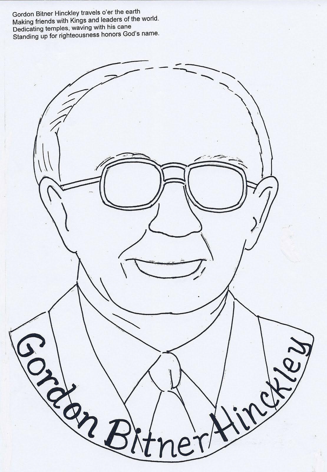 Grandma music 39 s lds resources follow the prophet faces for President monson coloring page