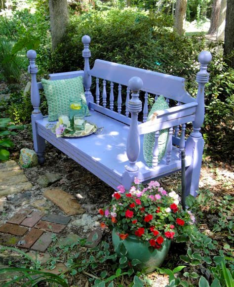 Pleasant Turning A Craigs List Bed Frame Into A Garden Bench Creativecarmelina Interior Chair Design Creativecarmelinacom
