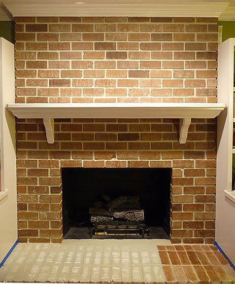 White Faux Brick: Faux Painted Brick Over White Fireplace