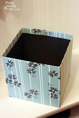 Turn cardboard box into Decorative bin