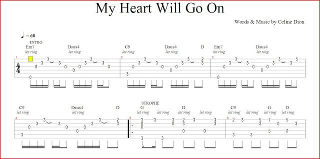 aprende guitarra gratis leccion guitarra tablatura my heart will go on gratis. Black Bedroom Furniture Sets. Home Design Ideas