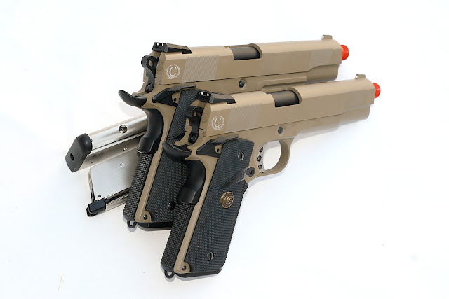 1911 MEU Tan Airsoft Gas Blowback Pistol, Pyramyd Airsoft Blog, Airsoft Green Gas Guns, Tom Harris Media, Tominator
