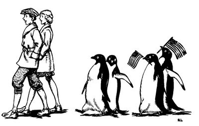 Robert Lawson illustration for Mr Popper's Penguins