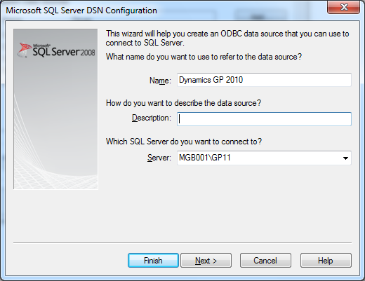 The Dynamics GP Blogster: Microsoft SQL Server DSN Configuration