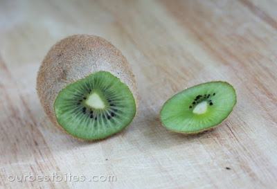 kiwi fruit with top removed