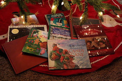 Christmas picture books under Christmas Tree