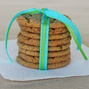 stack of cookies tied in ribbon